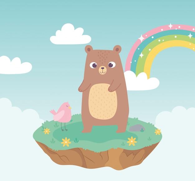 Simpatici animali barba e uccelli adorabili con fiori e arcobaleno cartoon