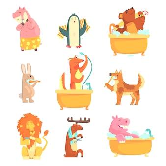 Simpatici animali che fanno il bagno e lavano in acqua, set per. igiene e cura, illustrazioni dettagliate dei cartoni animati