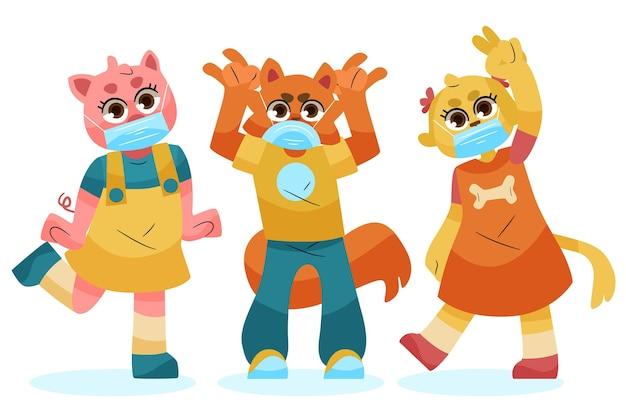 Simpatici animali che indossano maschere per il viso concetto