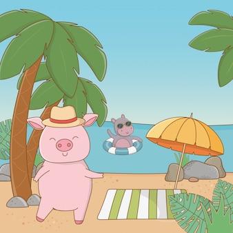 Simpatici animali che si godono le vacanze estive
