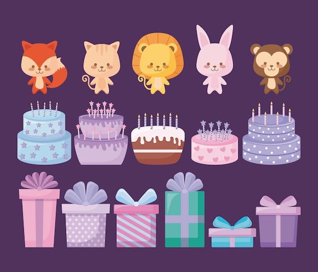Simpatici animali con torte dolci e scatole regalo