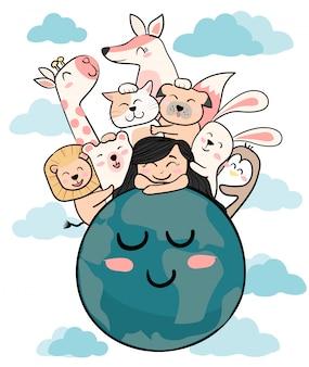 Simpatici animali con una ragazza sulla terra madre terra giorno