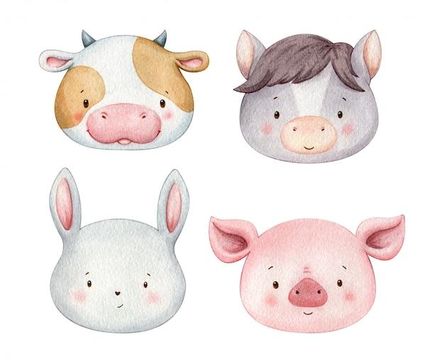 Simpatici animali da contadino dipinti ad acquerello. teste per animali piuttosto colorate