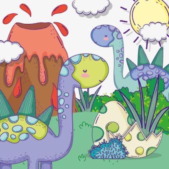 Simpatici animali di stegosauro con uova di dino e vulcano