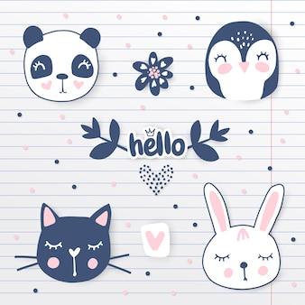 Simpatici animali disegnati a mano