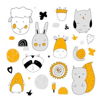 Simpatici animali e personaggi della natura per i disegni dei bambini