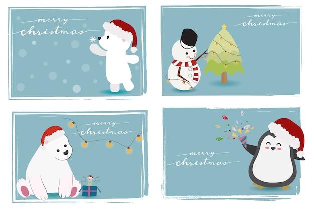 Simpatici animali e pupazzo di neve con buon natale calligrafia
