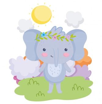 Simpatici animali elefante con fiori in testa erba nuvole giornata di sole dei cartoni animati