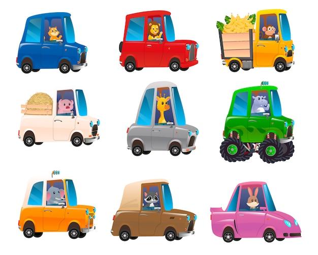 Simpatici animali in auto divertenti. trasporto di animali da viaggio di carattere
