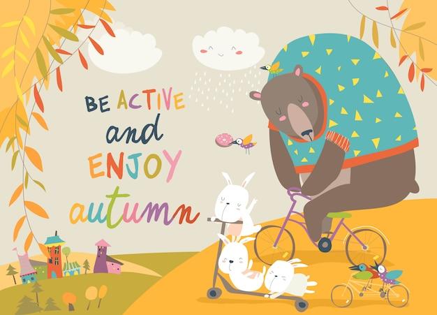 Simpatici animali in sella a biciclette nel parco in autunno