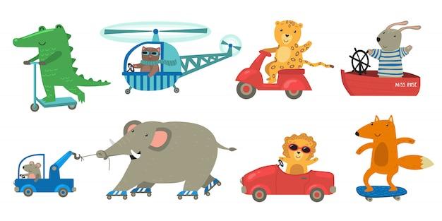Simpatici animali in sella a un set di trasporto giocattolo