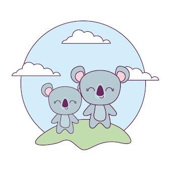 Simpatici animali koala nel paesaggio