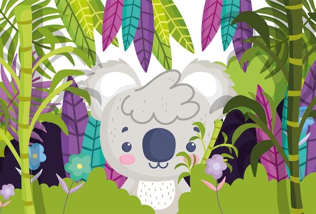 Simpatici animali koala piante fogliame foresta natura cartoon