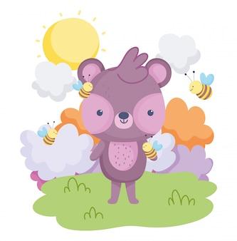 Simpatici animali, orsetto volante ape nuvole erba carta