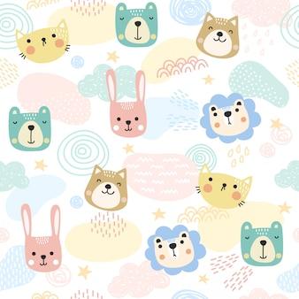 Simpatici animali pattern di sfondo.
