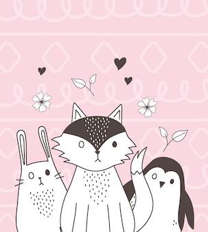 Simpatici animali schizzo cartoon adorabile pinguino volpe coniglio con fiori di cuori