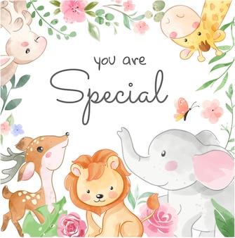 Simpatici animali selvatici e fiori colorati in cornice quadrata illustrazione