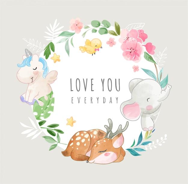 Simpatici animali selvatici e fiori colorati nell'illustrazione del telaio del cerchio