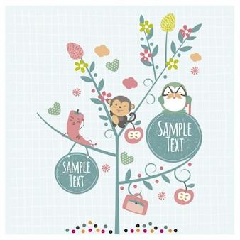 Simpatici animali sull'albero con le etichette