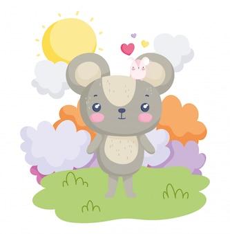 Simpatici animali topi cuori amore cielo soleggiato giorno cartoon