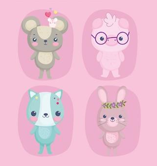 Simpatici animali, topolini maiale con occhiali gatto e coniglio con fiori di cartone animato