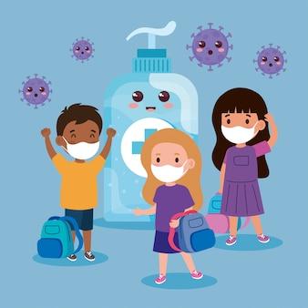 Simpatici bambini che indossano una mascherina medica per prevenire il coronavirus covid 19 con una simpatica bottiglia di disinfezione in stile kawaii