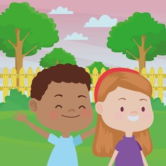 Simpatici bambini felici divertirsi cartoni animati
