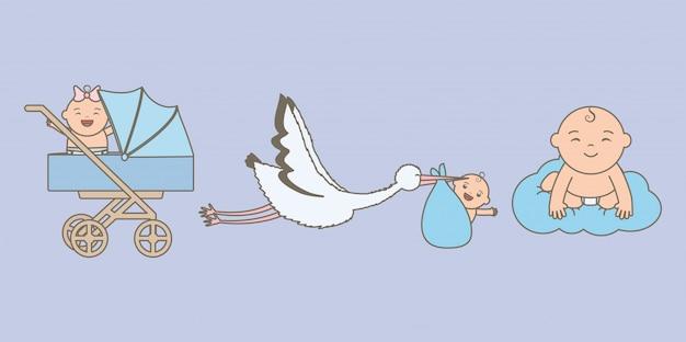 Simpatici bambini piccoli con cicogna e carrello