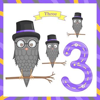 Simpatici bambini traccia flashcard numero uno con 3 gufi per i bambini che imparano a contare e scrivere. imparando i numeri 0-10, flash cards, attività educative in età prescolare, fogli di lavoro per bambini
