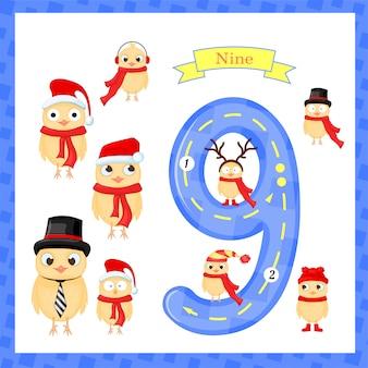 Simpatici bambini traccia flashcard numero uno con 9 pulcini per i bambini che imparano a contare e scrivere. imparando i numeri 0-10,