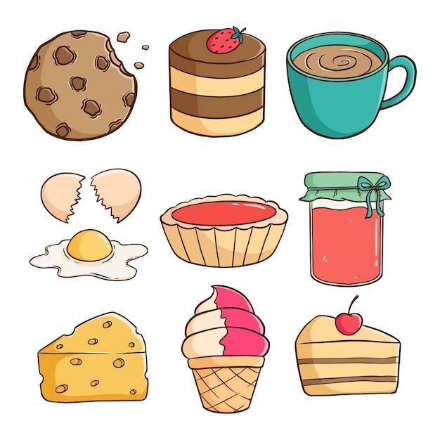 Simpatici biscotti gustosi, torta, gelato e fetta di torta con doodle colorato o stile disegnato a mano