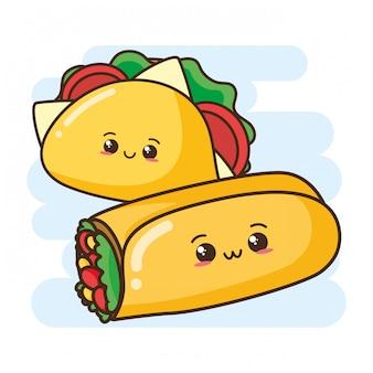 Simpatici burrito e taco kawaii fast food