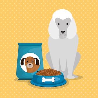 Simpatici cani con il cibo