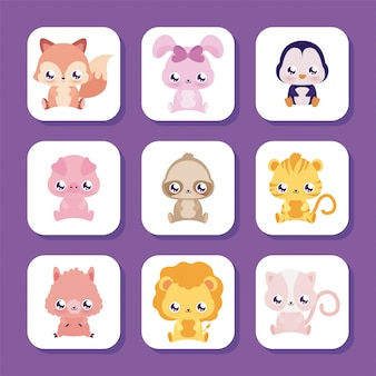 Simpatici cartoni animati di animali kawaii all'interno di cornici