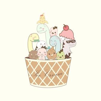 Simpatici cartoni animati di dino in tazza gelato