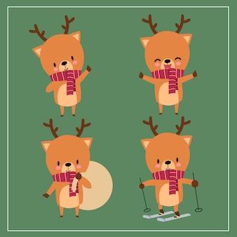 Simpatici cervi kawaii disegnati a mano indossando la sciarpa con la faccia sorridente e divertente in diverse pose