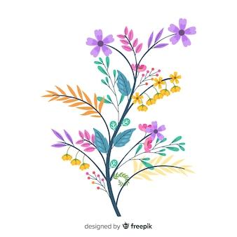 Simpatici colori caldi di fiori primaverili in design piatto
