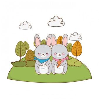 Simpatici conigli nei personaggi dei boschi