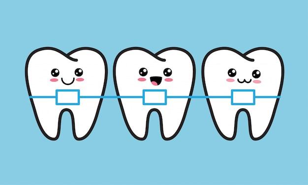 Simpatici denti kawaii felici con bretelle metalliche. trattamento ortodontico, correzione del morso o concetto di allineamento della mascella