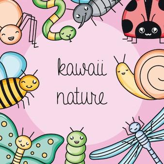 Simpatici e piccoli animali da giardino kawaii personaggi