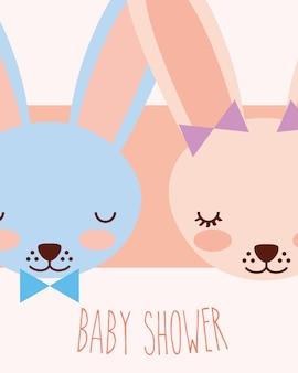 Simpatici facce blu e rosa conigli baby shower card