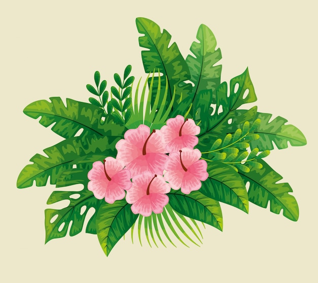 Simpatici fiori rosa con foglie tropicali