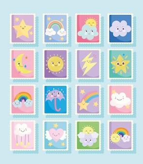 Simpatici francobolli, tempo fantasia nuvole sole luna arcobaleno pioggia ombrello cartoon