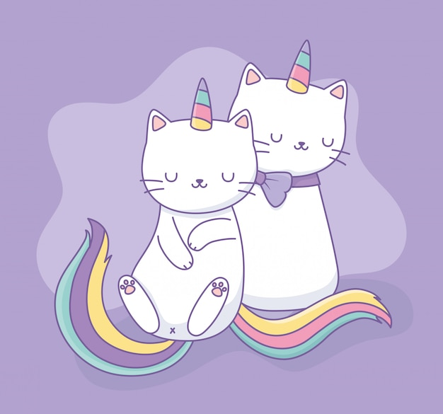 Simpatici gatti con arcobaleno coda caratteri kawaii