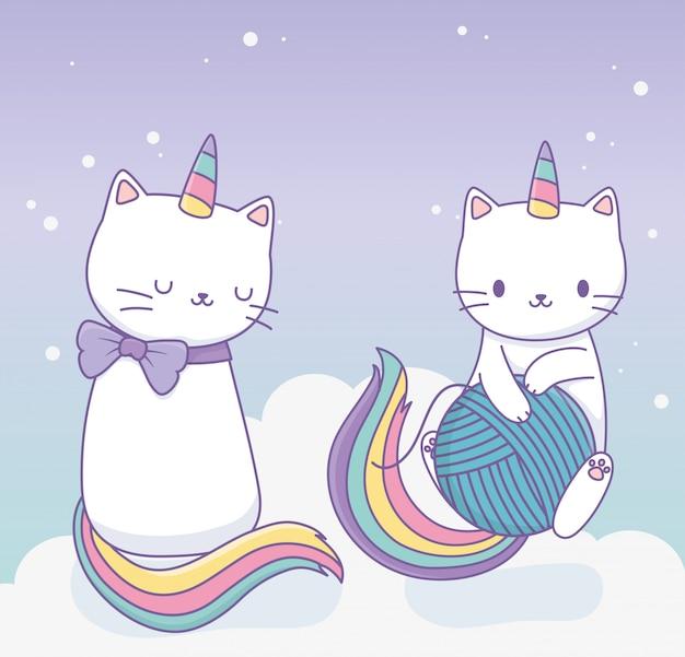 Simpatici gatti con code di arcobaleno e caratteri kawaii di palla di lana