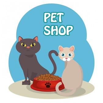 Simpatici gatti con il cibo