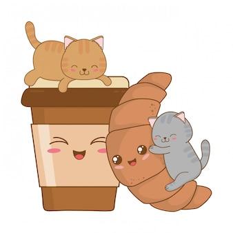 Simpatici gattini con personaggi kawaii croissant