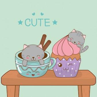 Simpatici gattini con personaggi kawaii tazze di caffè
