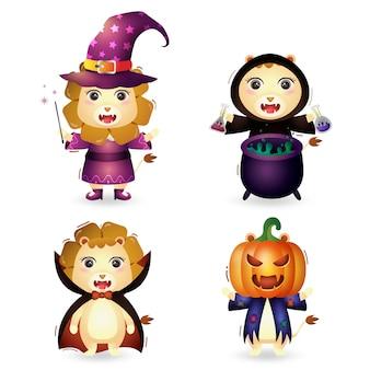 Simpatici leoni con collezione di personaggi di halloween in costume
