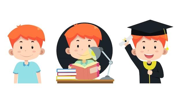 Simpatici personaggi dei bambini elaborati per studiare e laurearsi